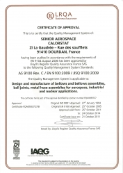 Certifications AS9100, EN 9100, JISQ 9100